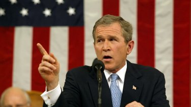 US President George W. Bush gives his 'axis of evil' speech in Congress in 2002.