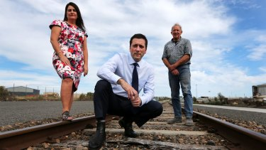 Member for South West Coast Roma Britnell, Opposition Leader Matthew Guy, and Westvic Container Export owner Warwick Loft are unhappy about the closure of the Warrnambool line.