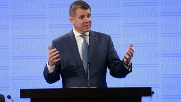 NSW Premier Mike Baird told the National Press Club on Tuesday his government had set itself a target of 81 per cent of emergency department admissions being discharged within four hours.