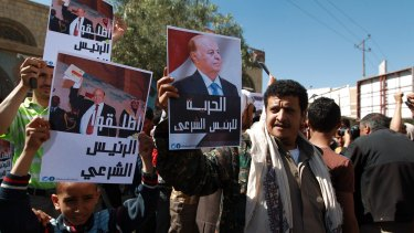 Yemeni protesters voice their concerns at the anti-Houthi demonstration in Sanaa.