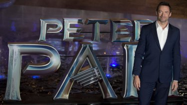 Panned: Hugh Jackman poses during the blue carpet premiere of <i>Pan</i> in Mexico City.