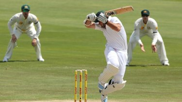 Johnson claims the wicket of Graeme Smith with a brutal delivery.