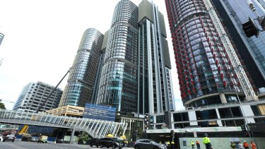 The drill simulated a plane crashing at Barangaroo in the city's west.