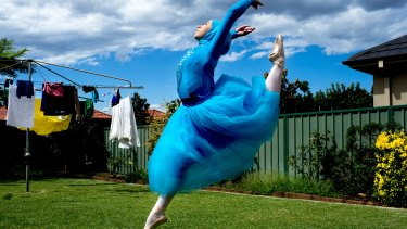 Ballerina Stephanie Kurlow, 14, practising in her backyard.