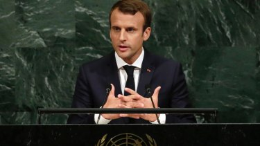Push-back: President Emmanuel Macron of France addresses the United Nations General Assembly.