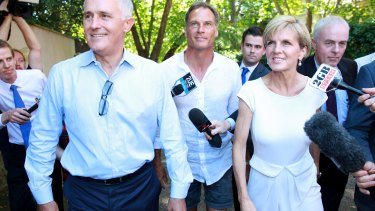 Ms Bishop and David Panton, pictured with Malcolm Turnbull earlier this year.