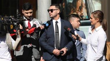 Media surround Salim Mehajer outside court in April.