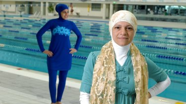 Aheda Zanetti and her burkini, modelled by Farrah Zbib.