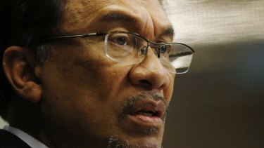"""Sentenced to five years in jail on a """"sodomy"""" charge: Malaysian opposition leader Anwar Ibrahim."""
