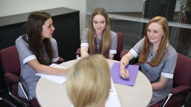 St Helena Secondary College students are shown interviewing a prospective teacher applying for a job at the school on February 13, 2015.