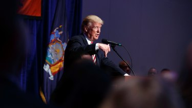 Republican presidential candidate Donald Trump speaks to the Conservative Party of New York Presidential Convention on Wednesday.