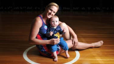 Sharelle McMahon, now retired, with son Xavier, is the only Australian mum to have played in the ANZ Championship