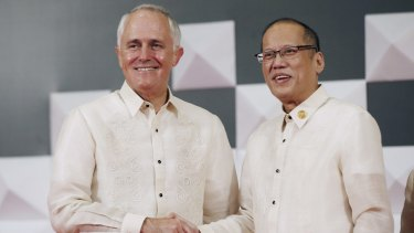 Prime Minister Malcolm Turnbull with  Philippines President Benigno Aquino at the Asia-Pacific Economic Co-operation summit in Manila.
