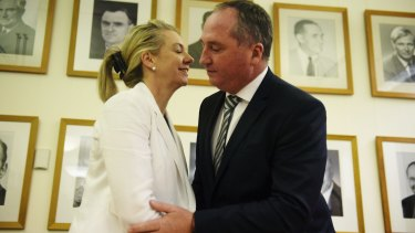 Deputy PM Barnaby Joyce congratulates the new deputy National Party leader Bridget McKenzie.