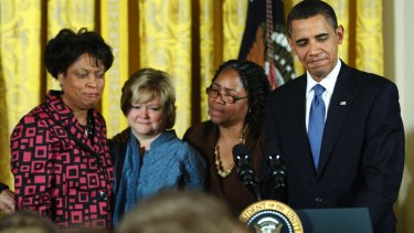 President Barack Obama with the families of Matthew Shepard and James Byrd jnr, during a reception commemorating the enactment of the Hate Crimes Prevention Act in 2009.