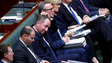 Deputy Prime Minister Barnaby Joyce on the frontbench during question time on Monday.