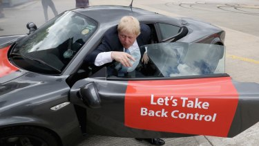 "Boris Johnson, One of the most prominent proponents of the ""Leave"" campaign in Britain."