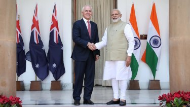 Prime Minister Malcolm Turnbull with Indian Prime Minister Narendra Modi at Hyderabad House in New Delhi, India on Monday.