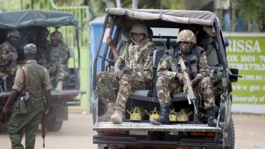 On guard: Kenya Defence Force soldiers at Garissa University College, the site of the attack.