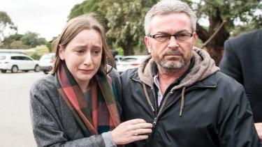 Karen Ristevski's daughter Sarah, and husband Borce after an appeal for public help to find her.