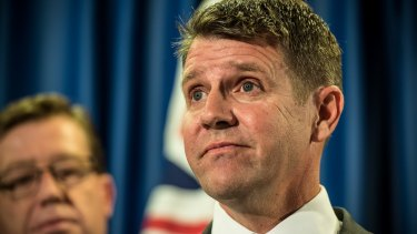 """""""I got it wrong"""": Then premier Mike Baird announcing a reversal of the greyhound racing ban last October."""