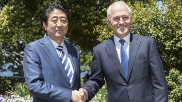 Japanese Prime Minister Shinzo Abe with Prime Minister Malcom Turnbull earlier in January.