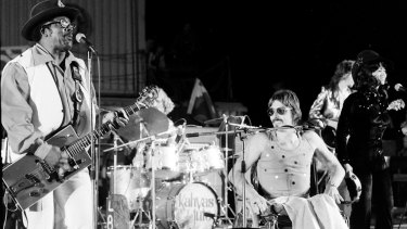 Jeff St John performing with with Bo Diddley.
