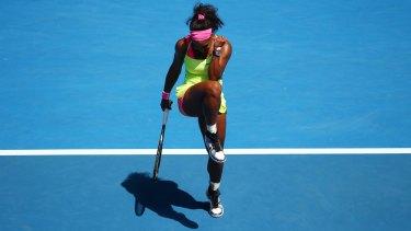 Serena Williams celebrates her win.