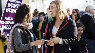 Labor MP Jo Haylen at a WestConnex protest outside Haberfield Public School.