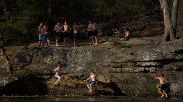 Locals cool off at Parramatta Lake