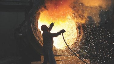 A steelworker in Hefei. If China is serious about fostering a more sustainable economy, its steel industry will have to shrink -- and there's nothing that Australia's iron miners can do to change that.