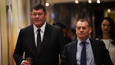 James Packer, left, with Crown executive chairman John Alexander, said VIP volumes were starting to increase again.