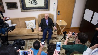 Fethullah Gulen, a Muslim thinker and former ally of Turkish President Recep Tayyip Erdogan, speaks to reporters at his compound in Saylorsburg, Pennsylvania, in July 2016. He denies any role in the coup attempt.