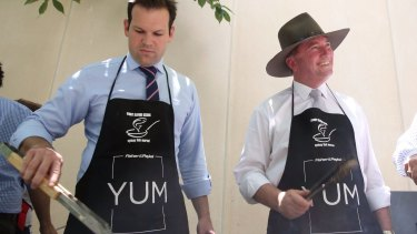 Facing citizenship challenges: Matthew Canavan and Barnaby Joyce.