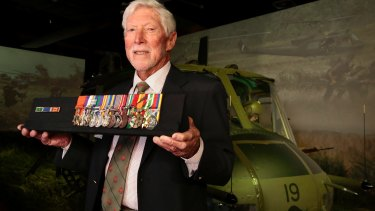 Retired Veteran Harry Smith with his medals at the Australian War Memorial in Canberra.