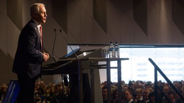 Malcolm Turnbull addresses the Liberal Party's state council meeting in Melbourne.