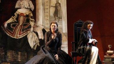 "Milijana Nikolic (Princess Eboli) and Victoria Yastrebova (Elisabeth de Valois) in Opera Australia's ""Don Carlos""."