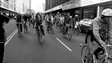 Cyclists ride down Sydney's George Street on a protest ride on September 6, 1979.