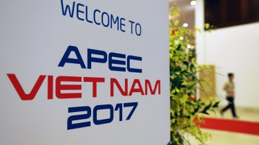 Signage for the Asia-Pacific Economic Cooperation summit in Danang, Vietnam.