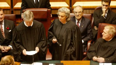Retiring: Justice Susan Crennan (centre) will leave the High Court in February.
