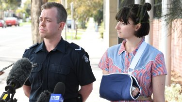 Victoria Police Constable, Pat Norman (left) and injured victim Tanya.