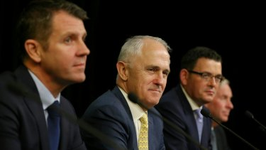 GST tax on the agenda: Malcolm Turnbull and the premiers of NSW, Victoria and Western Australia at this month's COAG meeting.