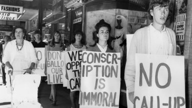 A demonstration in Melbourne against National Service.