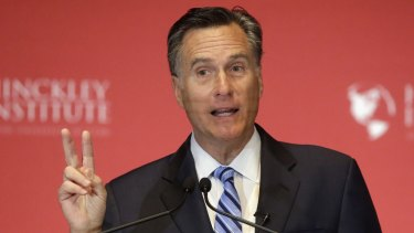 Former Republican presidential candidate Mitt Romney weighs in on the Republican presidential race during a speech at the University of Utah on Thursday.