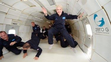 Cathie Reid in zero gravity training as she is set to be an astronaut in Richard Branson's Virgin Galactic space program.