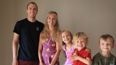 Dr Chris Ferrie with his wife Lindsay and children Dylan, Wesley and Maxwell.