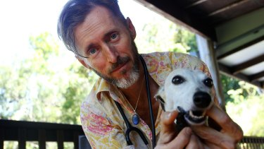 Dr Edward Bassingthwaighte administers a cannabis-based treatment to Pearl the whippet.