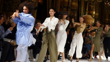 Models dance during the presentation of Stella McCartney's SS17 collection on Monday.