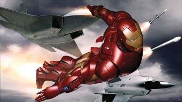 Adi Granov,  Iron Man study, flight with jets, (detail) concept art for Iron Man 2008.