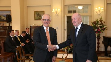 Prime Minister Malcom Turnbull with the Governor-General, Sir Peter Cosgrove, after the swearing in ceremony on Friday.